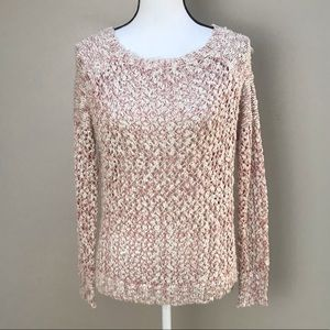 Pretty Good Red Creme Crocheted Sweater Size S